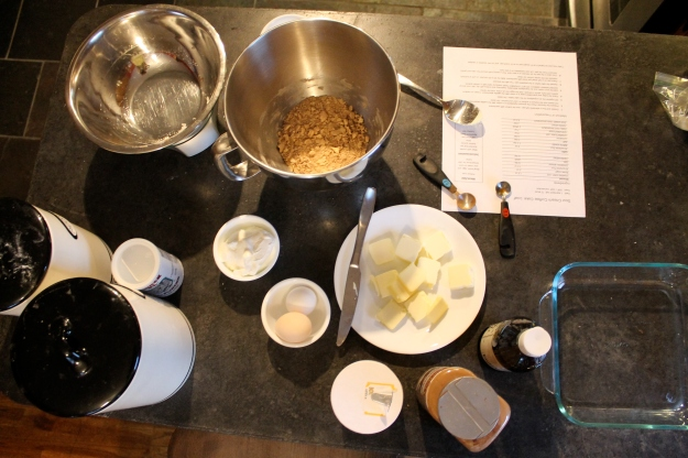 preparing the streusel and measuring the cake ingredients